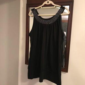 Lane Bryant Sleeveless Black Embellished Neckline